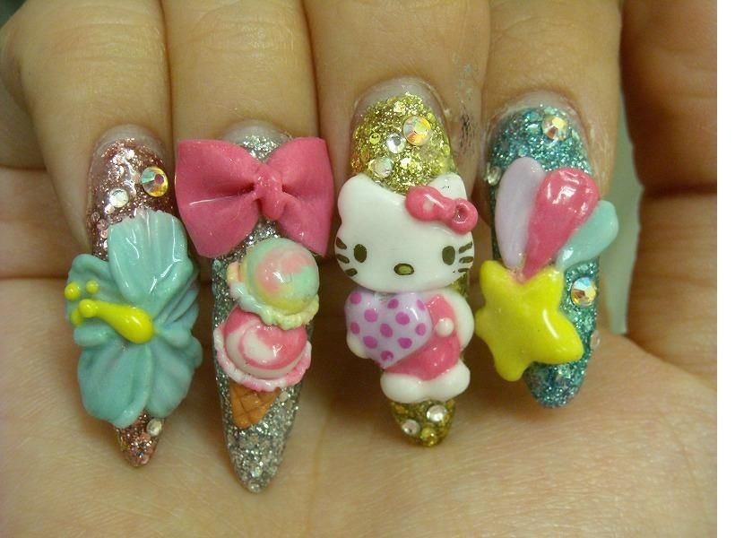 Hello Kitty Japanese 3D Nail Art | uñas | Pinterest | Hello kitty ...