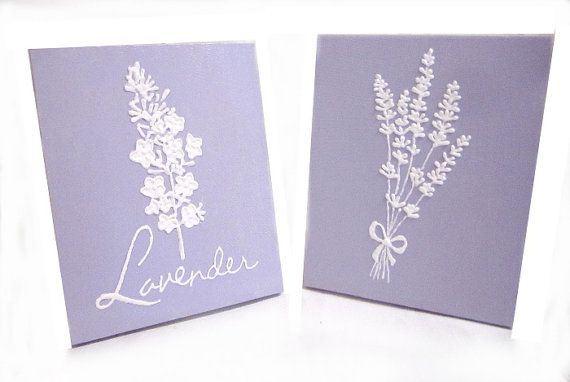 Lavender 3D Painting Acrylic Original set of two. 8 x 10 inches Tall.