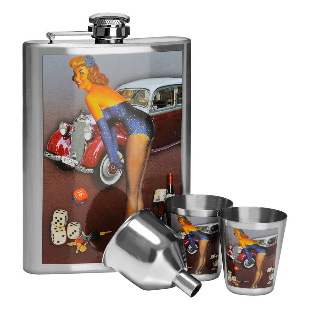 Hip Flask Set, Stainless Steel/Over the Bonnet Design, 8oz Flask/2 Cups/Funnel