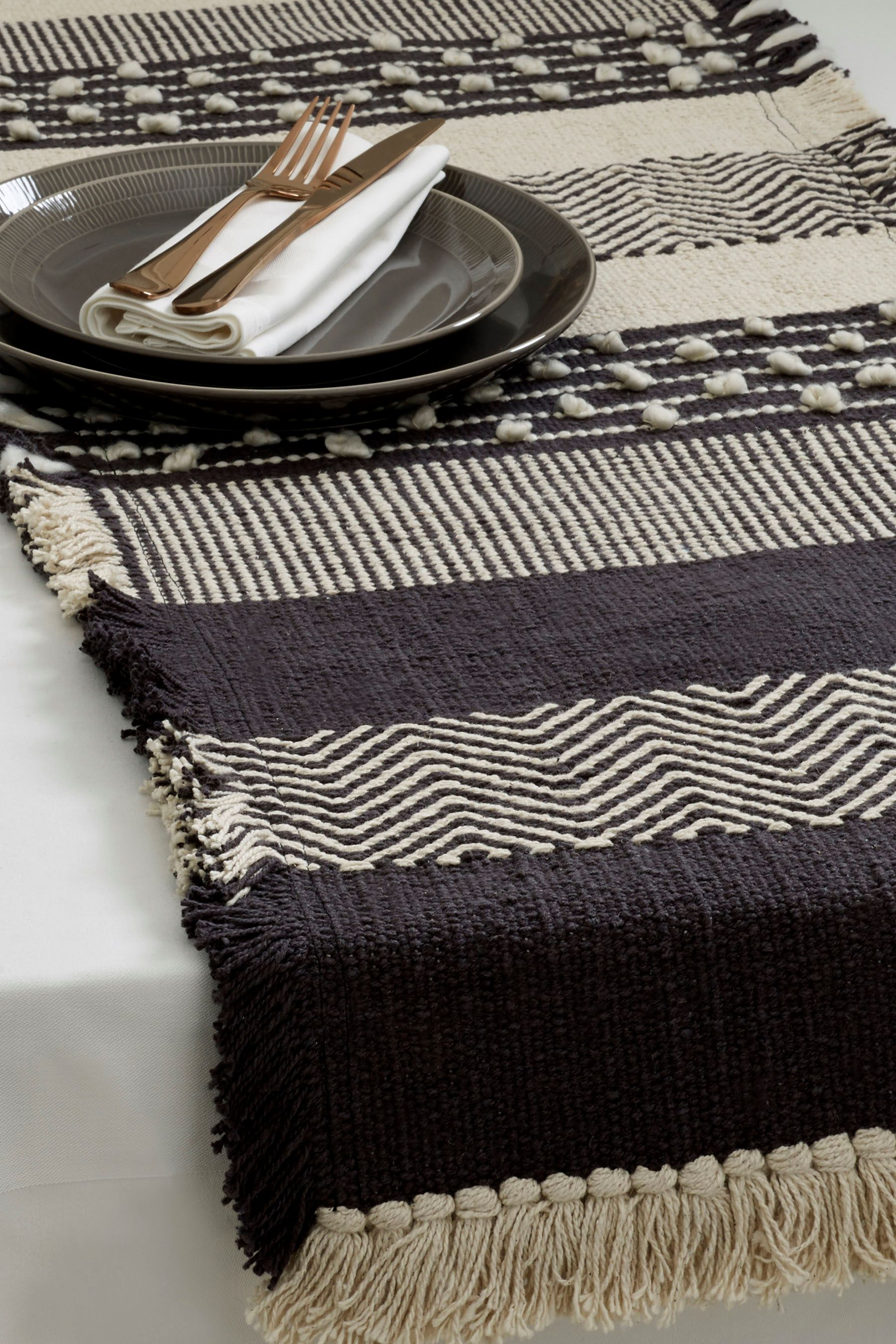 Next Woven Table Runner Grey With Images Dining Table