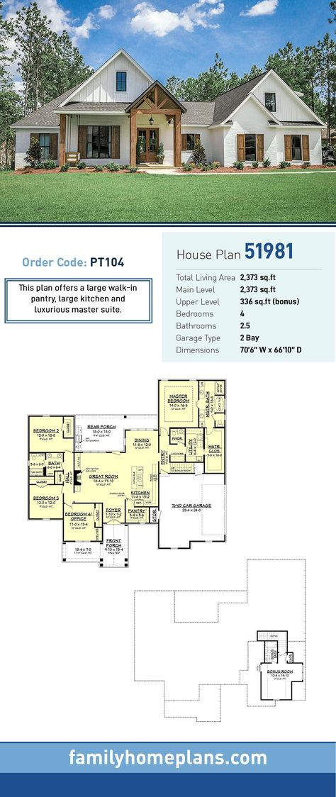 Farmhouse Plan 51981 | Total Living Area 2,373 SQ FT, 4 bedrooms and 2.5 bathrooms. This plan offe