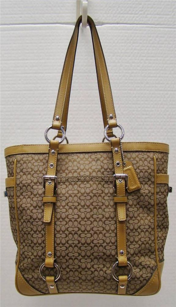 96a46e51807d COACH F11526 KHAKI SIGNATURE C JACQUARD TAN LEATHER STRAPS HANDBAG PURSE   Coach  ShoulderBag