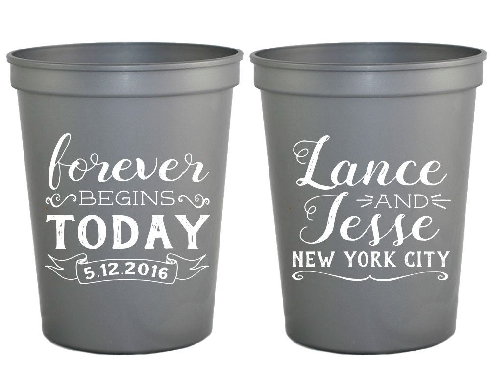 New to SipHipHooray on Etsy: Personalized Wedding Favors Monogrammed Wedding Cups Forever Begins Today Wedding Favors Bridal Shower Gifts Custom Wedding Cups 1288 (75.00 USD)