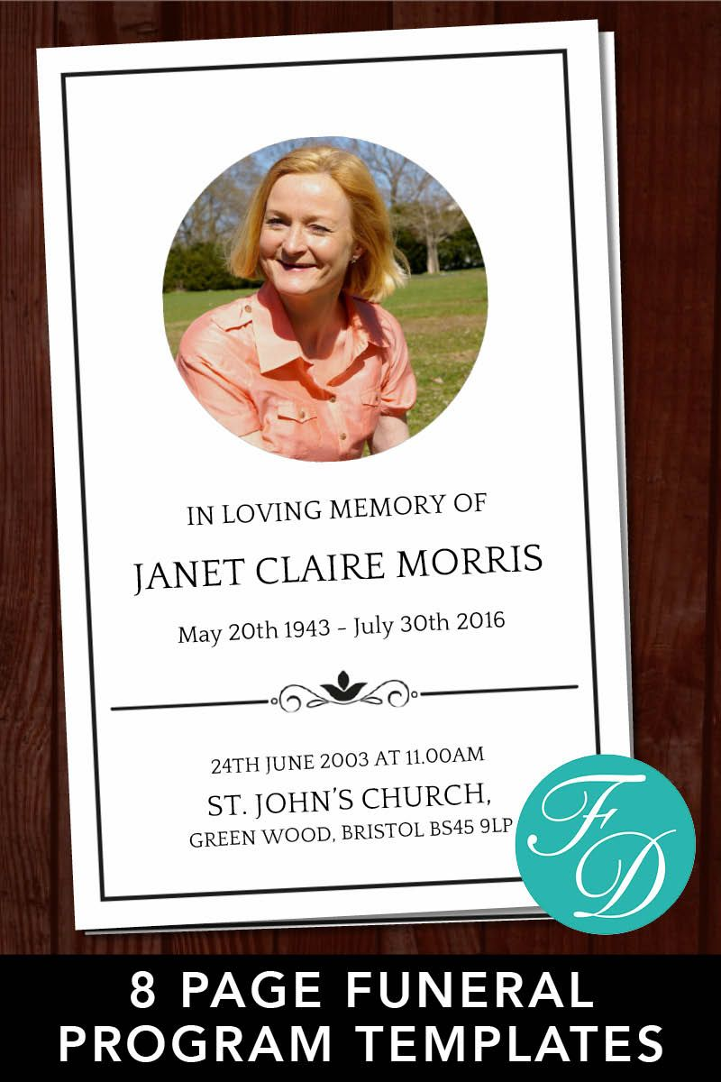 Traditional Obituary Template Ready To Edit Print Simply Purchase