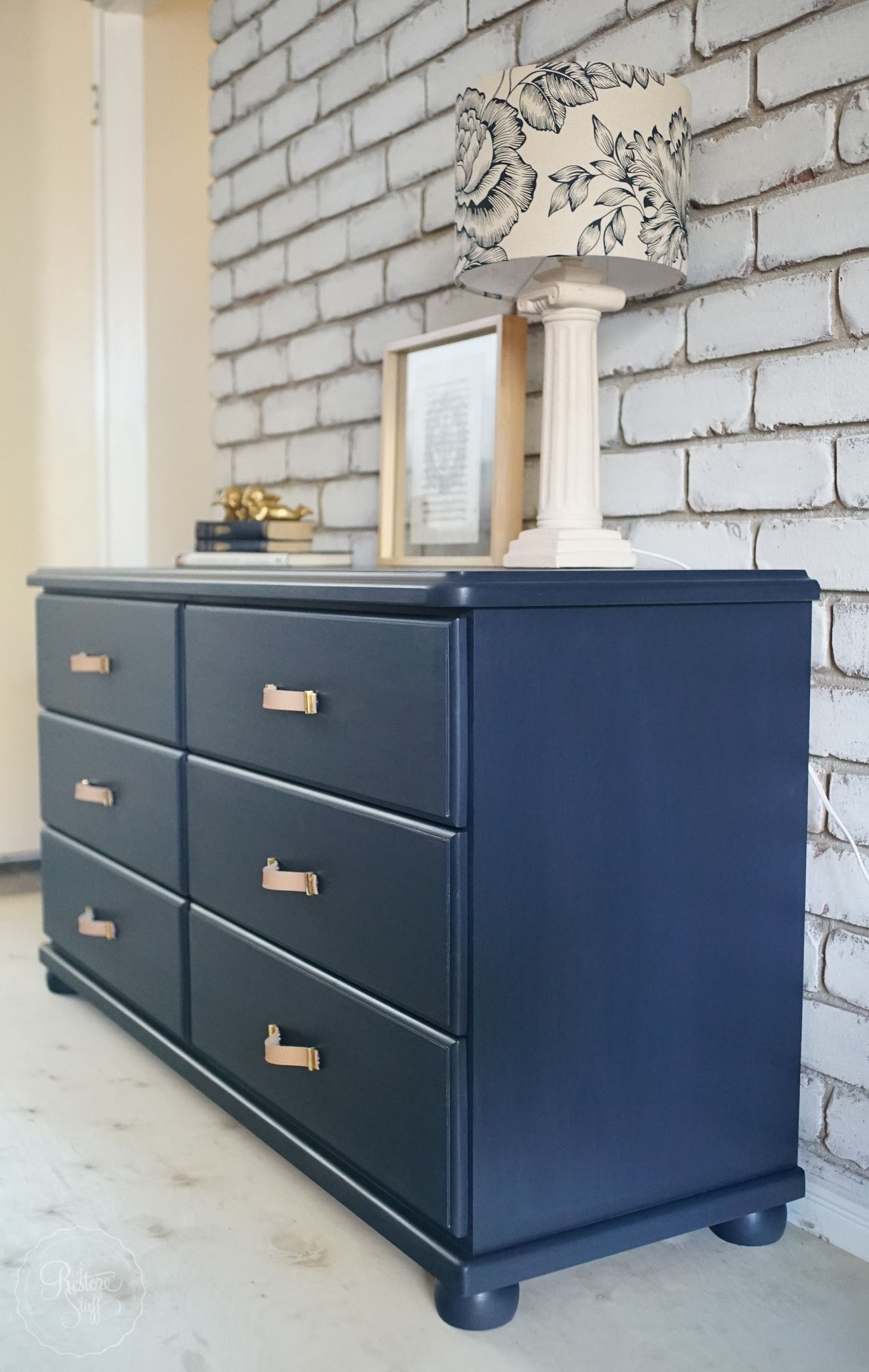 Midnight Blue Dresser Drawer Set Faux Leather Handles Blue