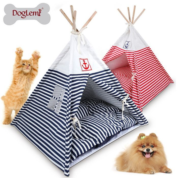 Removable Striped Pet Tent Dog Kennel Wooden Dog House Small Size Dog House Summer Cat Kennel Pet Bed  Removable Striped Pet Tent Dog Kennel Wooden Dog House Small Size D...
