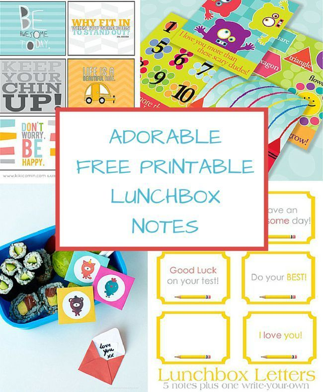 8 Adorable Free Printable Lunchbox Notes. These are so fun for back ...