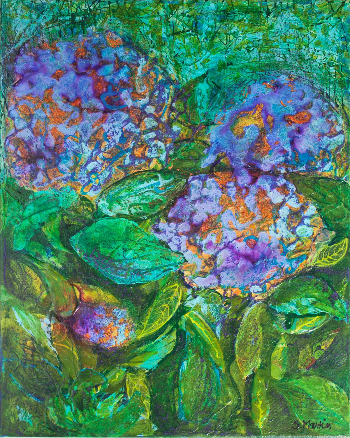 Floral Abstract Art Vibrant Colours Purple Turquoise Green Painting ...