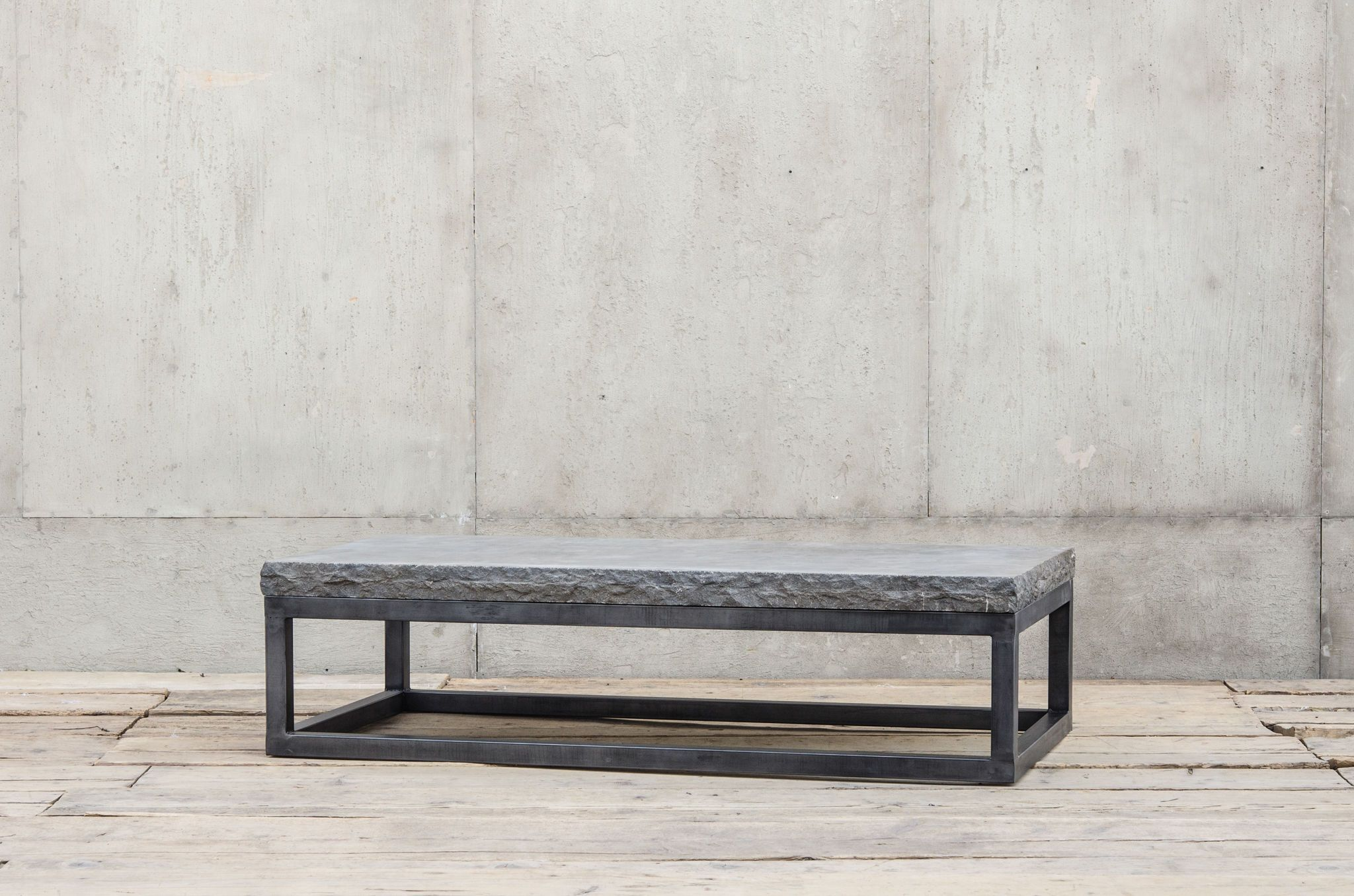 Bluestone Coffee Table With Gunmetal Iron Base Chiseled Stone Edge Not  Suitable For Outdoor Use Also