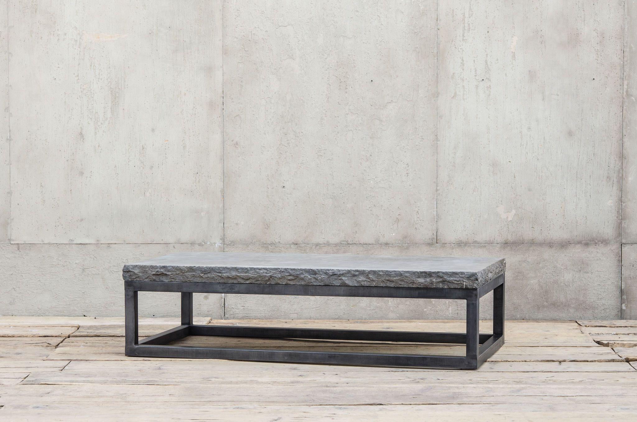 Bluestone Coffee Table with Gunmetal Iron Base Chiseled Stone Edge