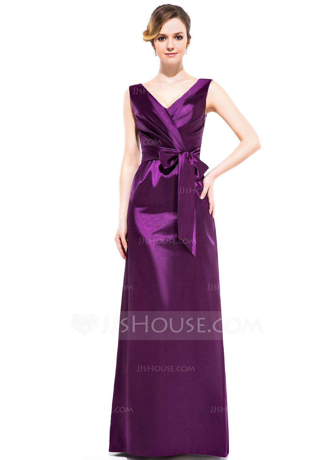 Sheath/Column V-neck Floor-Length Charmeuse Bridesmaid Dress With ...