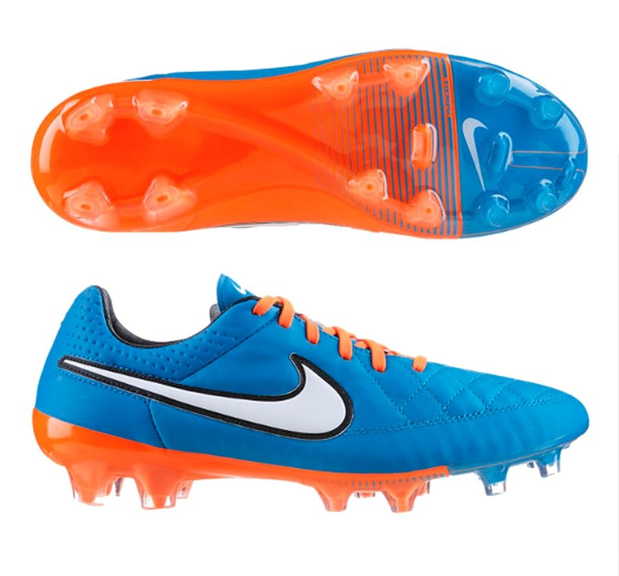Pure leather on the Nike Tiempo Legend V FG Soccer Cleats (Neo  Turquoise/Hyper