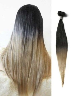 black to blonde straight ombre hair extensions straight