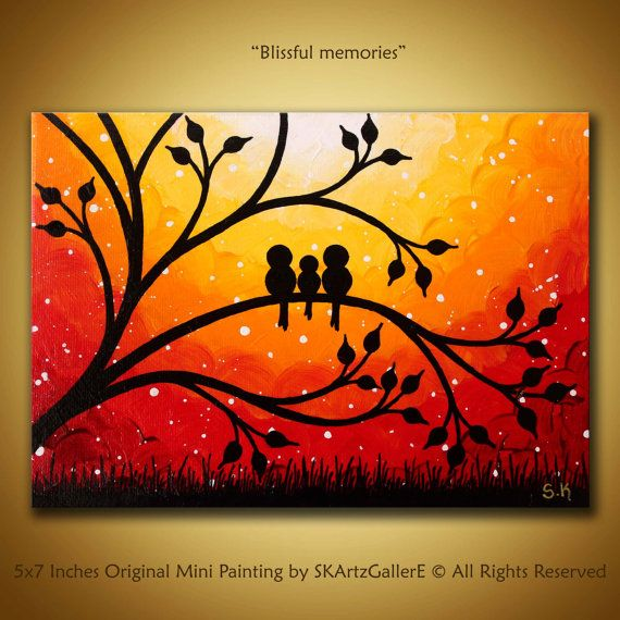 Family birds art sunset painting mini birds painting orange canvas art miniature canvas art 3 birds art 5x7 painting mini canvas art easel