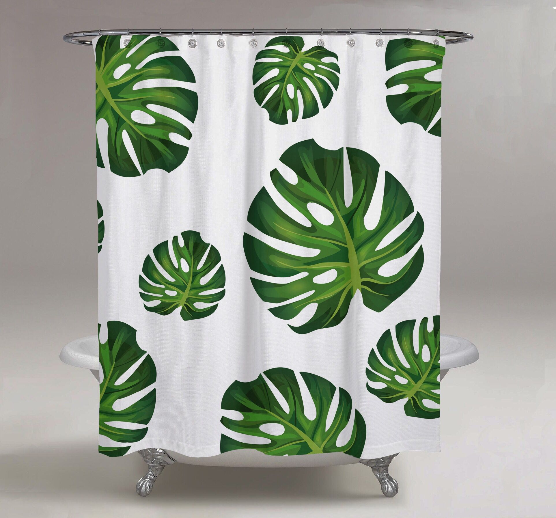 White Shower Curtain With Palm Trees Available Now On Etsy Shop