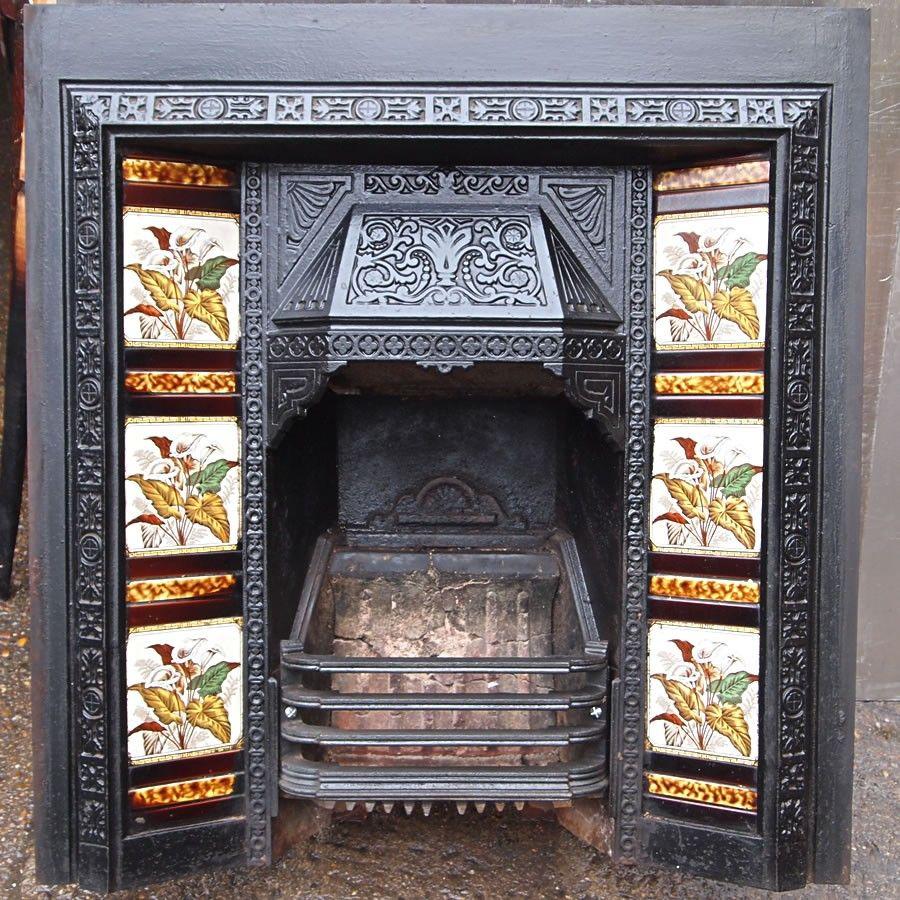 Victorian cast iron tiled fireplace insert. - Victorian Iron Fireplace Fire Pit For Your Home Pinterest