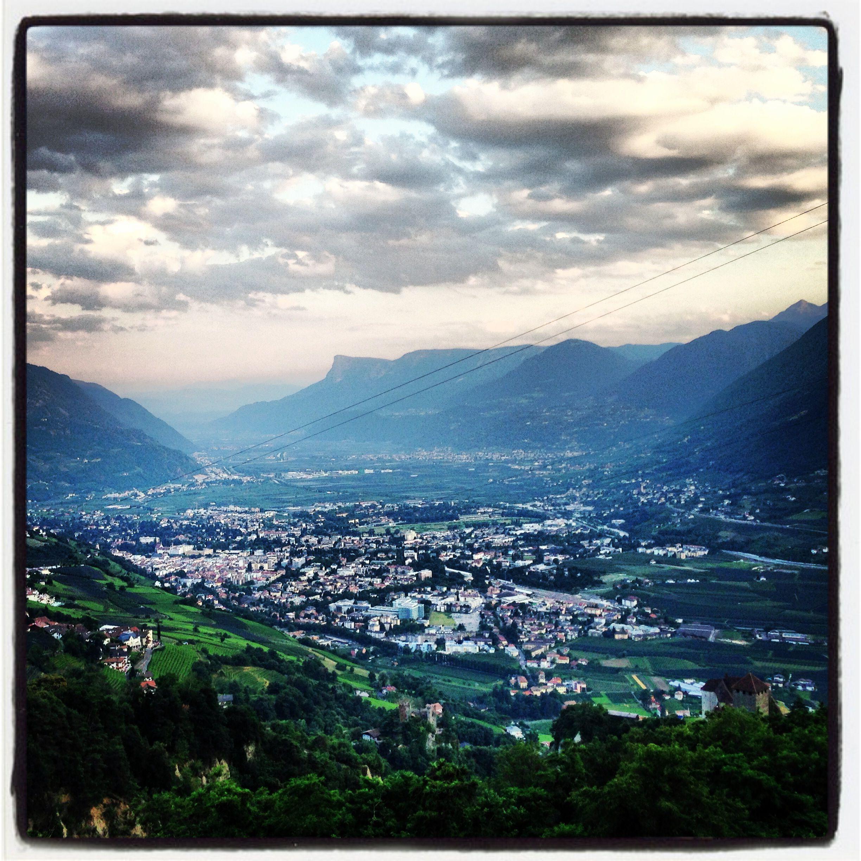 Aussicht vom Restaurant Culinaria im Farmerkreuz in Dorf Tirol