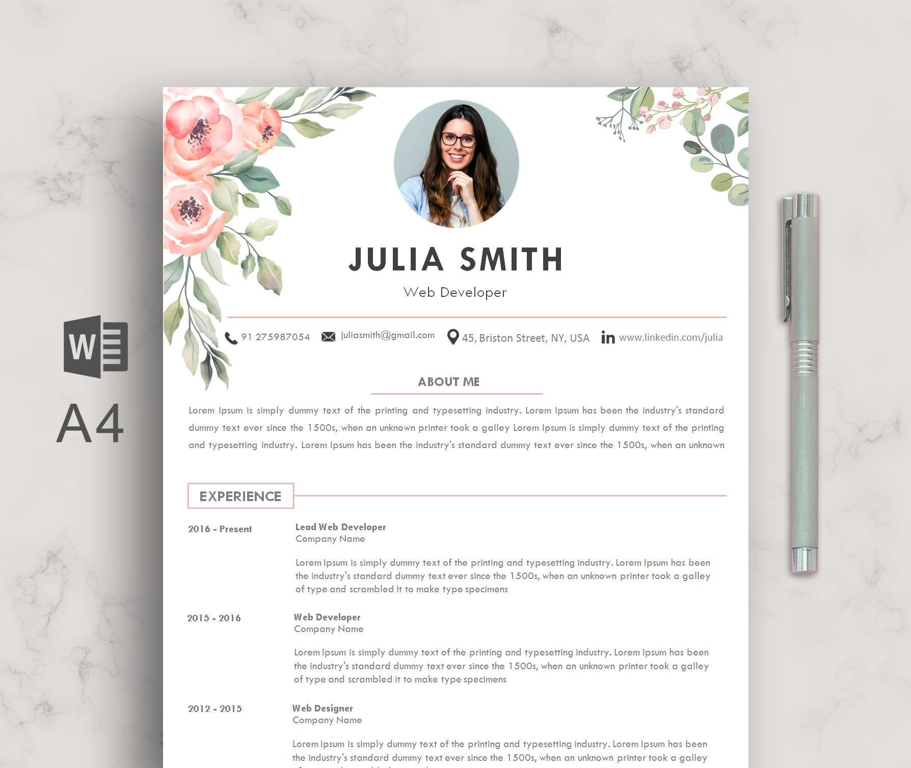 floral background resume template