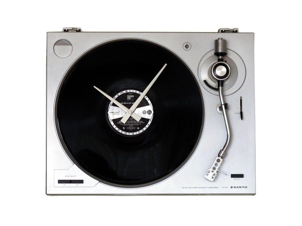 Wanduhr Plattenspieler Funkuhr Moderne Wohnzimmer Uhr Unikat Sanyo TP 20