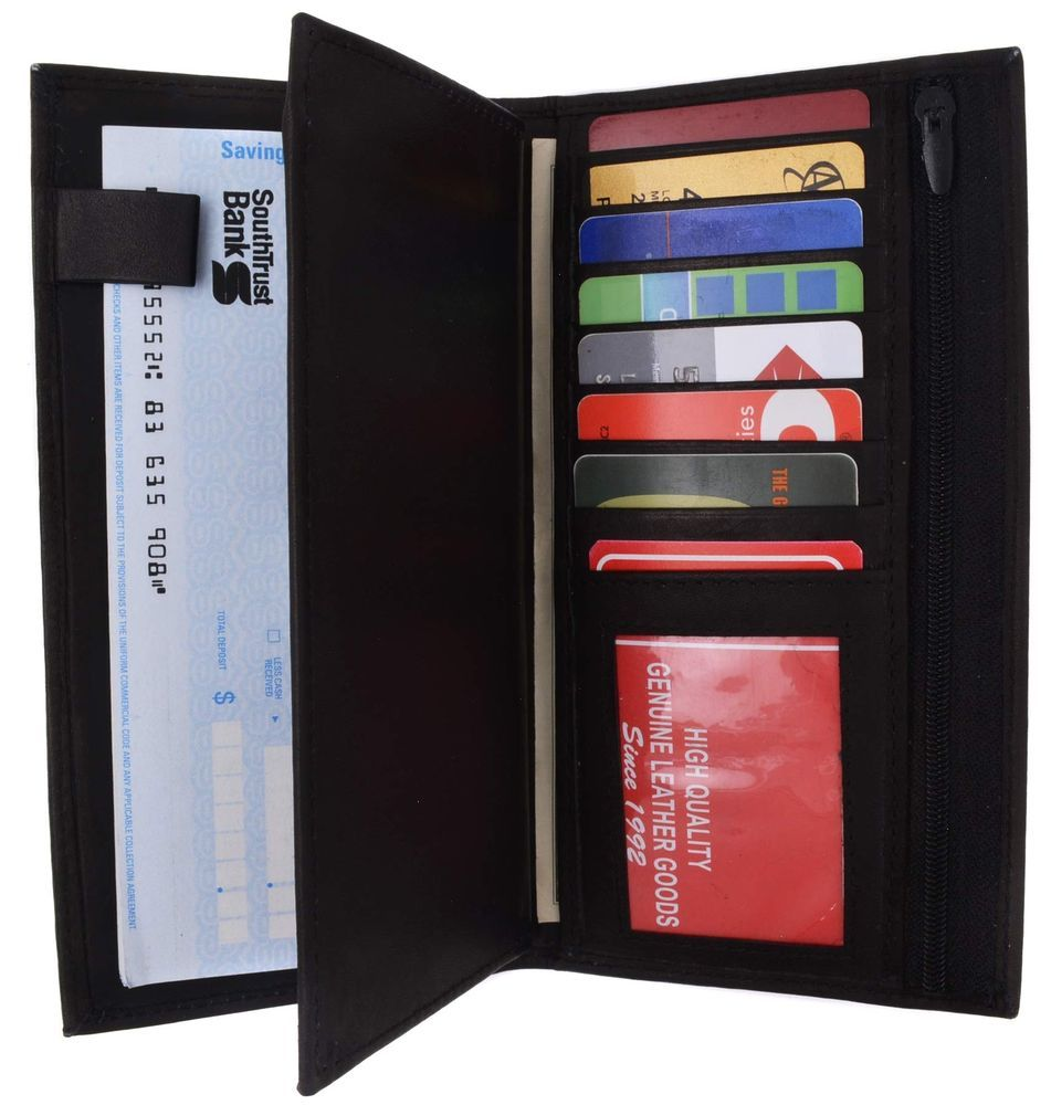 Genuine leather checkbook cover wallet organizer with