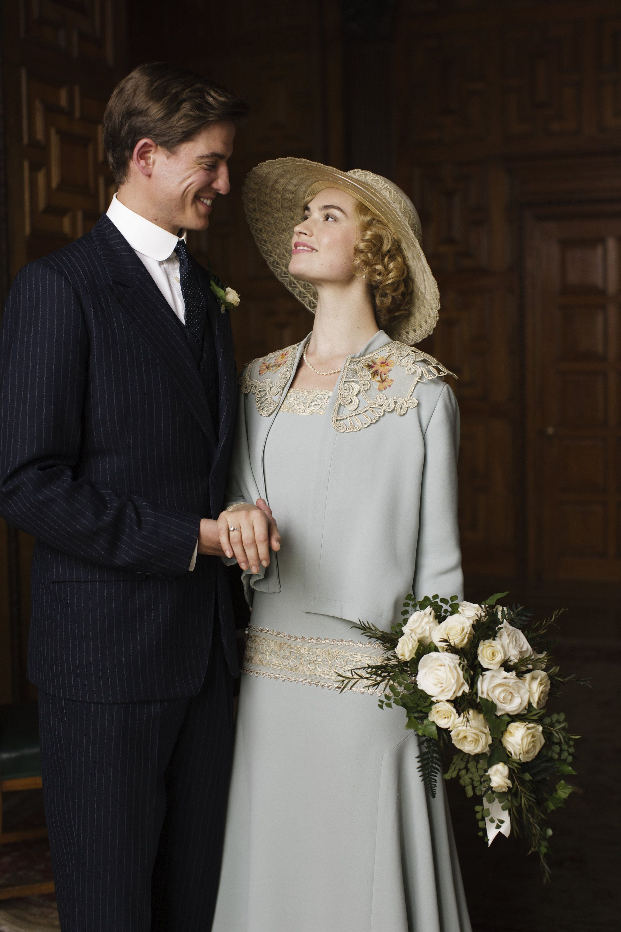 Lily James (as Lady Rose McClare) and Matt Barber (as Atticus Aldridge) in Downton Abbey.   ..rh