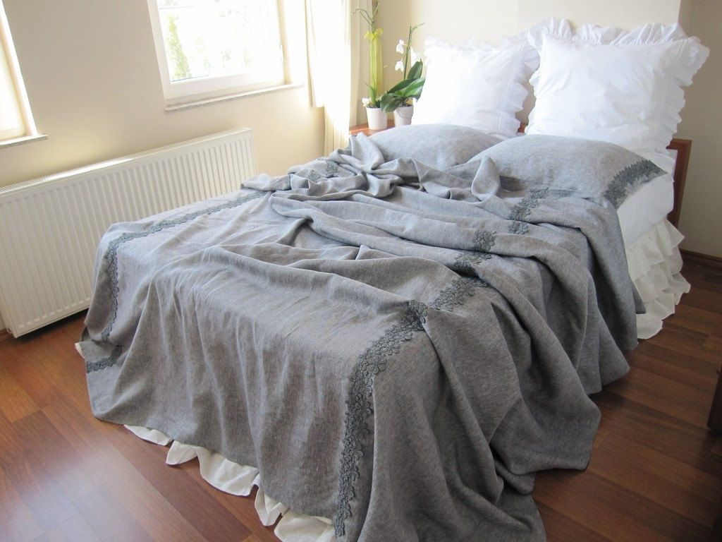 Coverlet Blanket   Grey Linen KING Size Extra Large XL   Bedspread Bed  Cover Shabby Chic Bedding  Lace Trim Elegant. $190.00, Via Etsy.