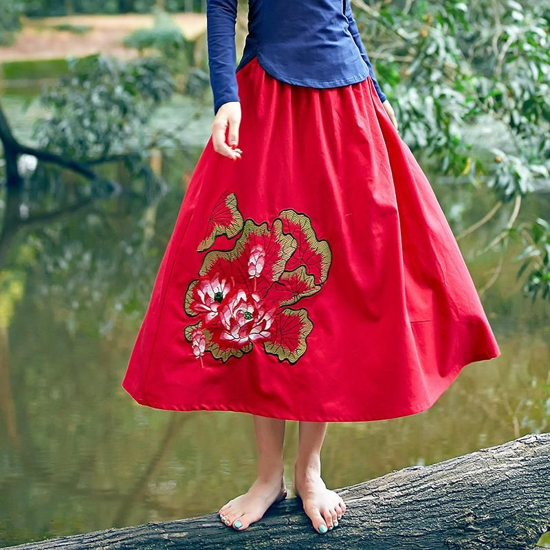 National Wind Lotus Leaf Embroidery Cotton Stretch High Waist Casual Spring And Autumn New Women Full Skirts  M1303