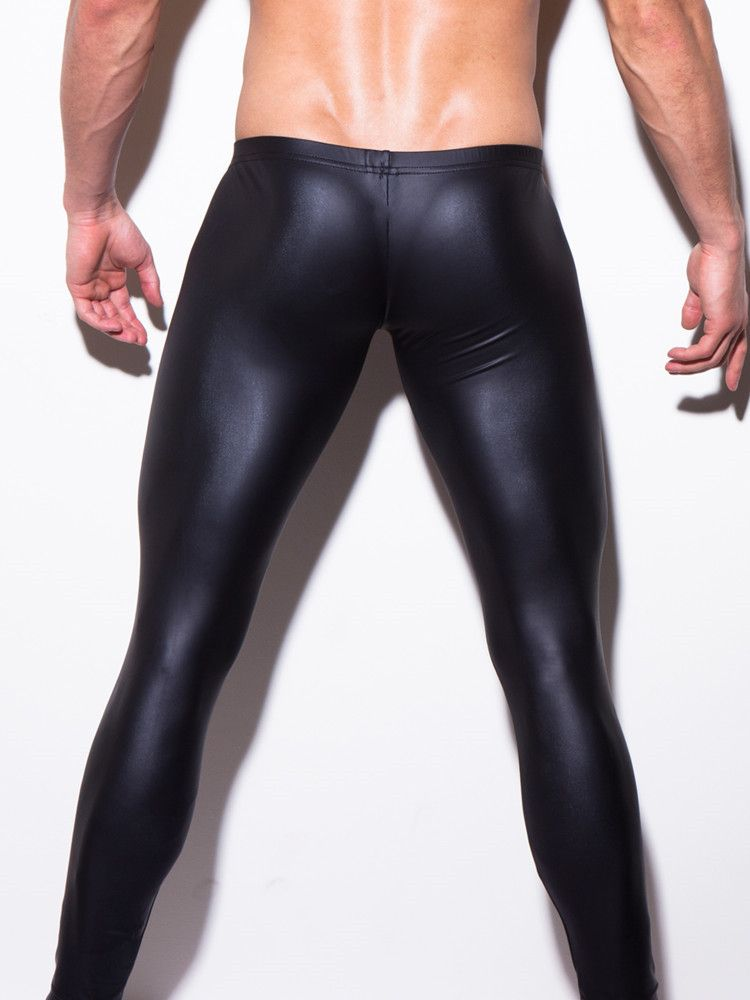 a4488855c Click to Buy    Sexy Men Low-rise U Bulge Pouch Night Club Stage  Performance Tights Bodywear Pants Men s Shiny Faux Leather Leggings Gay  Wear  Affiliate