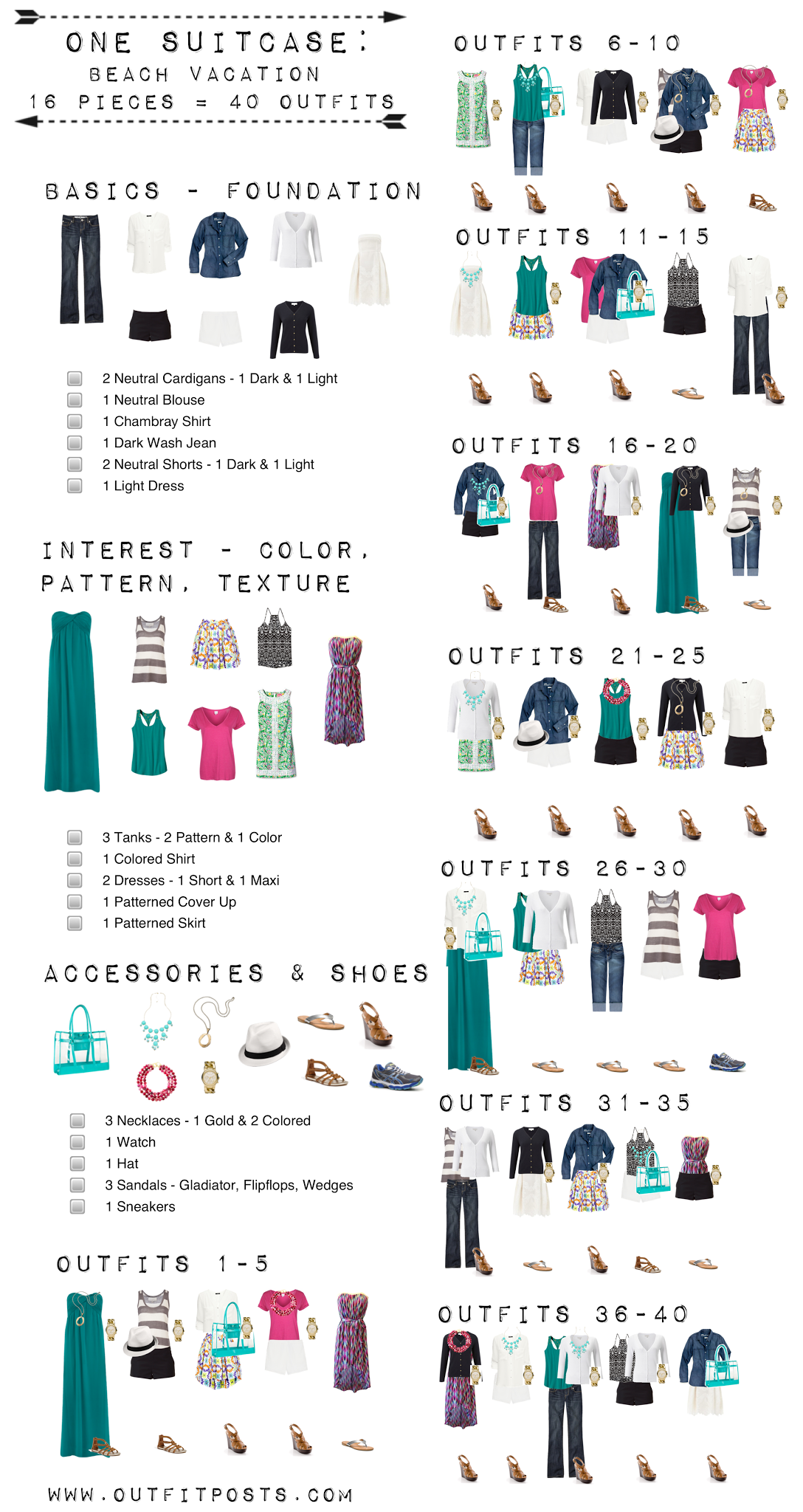 Outfit Posts one suitcase beach vacation checklist graphic – Sample Beach Checklist