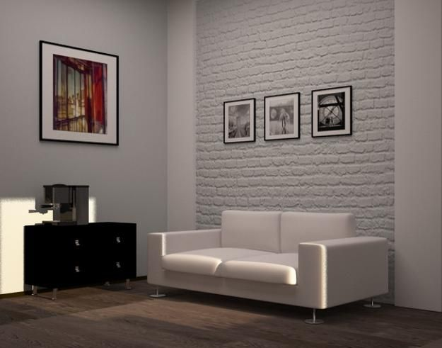 white brick wall and white living room sofa