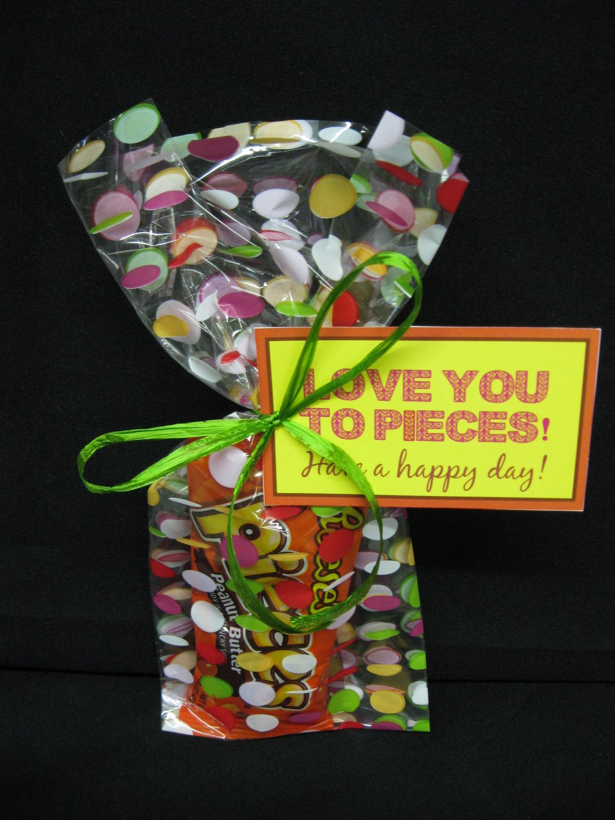 Love You To Pieces Dotted Cellophane Bag With A Bag Of