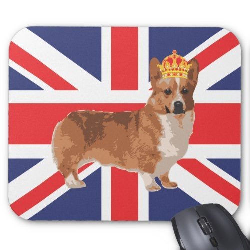 The Queen S Corgi With Crown And Union Jack Mouse Pad Zazzle Com In 2020 Corgi Union Jack Corgi Queen