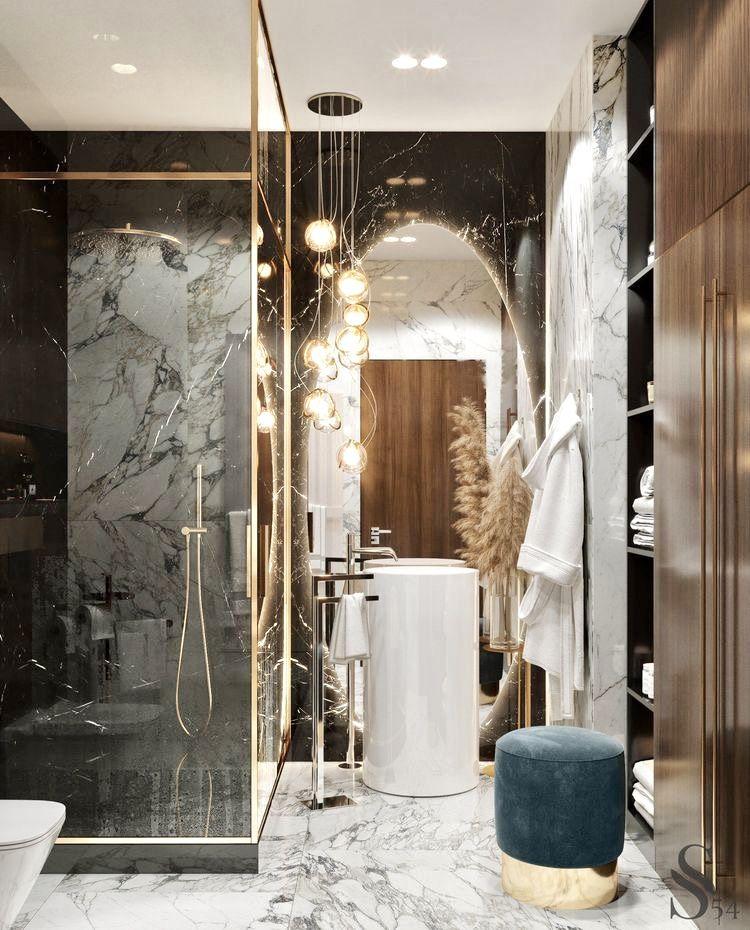 Modernes Badezimmer Boohoo Design Marmor Weiss Grau Gold In 2020 Home Interior Design Bathroom Design Luxury Luxury Interior