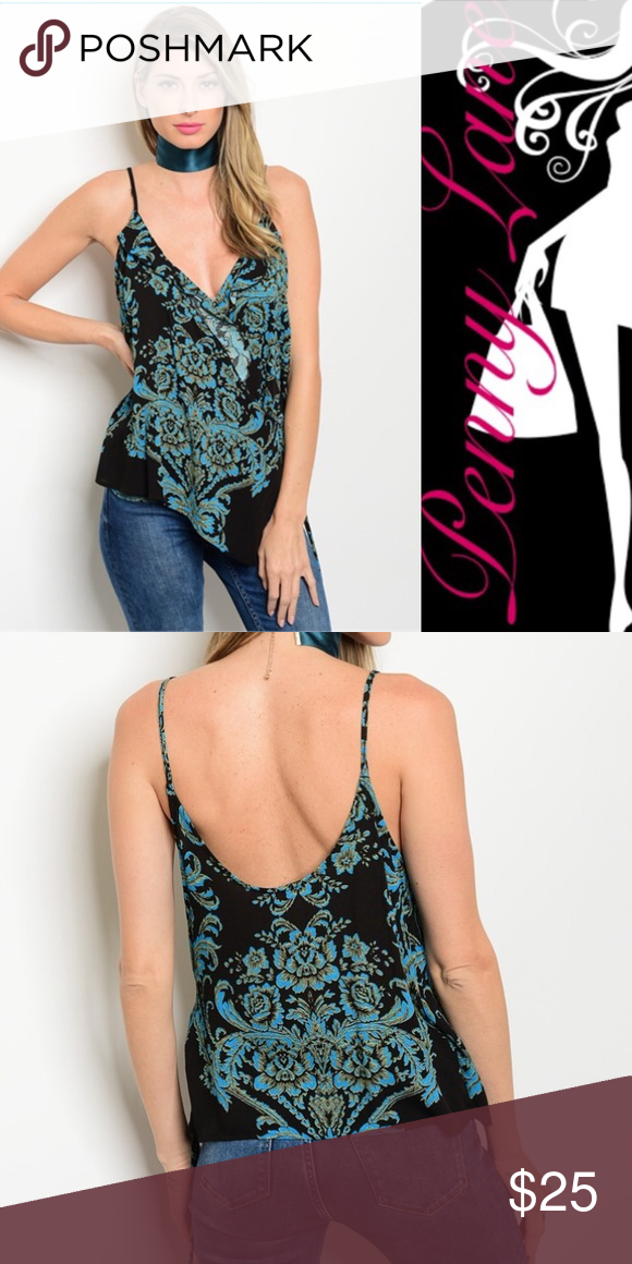 """🦋Coming soon! Black and real bohemian wrap tank! Low plunging neckline, and wrap-like front make this top an eye-catcher for sure! Hugs your waist with generous give. The back of the tank sits low to show off that sexy back of yours! 100% Rayon. Description: L: 28"""" B: 17"""" W: 16"""" Tops Tank Tops"""