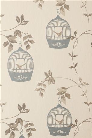 Gold Beige Metallic Wallpaper Birdcage Shabby Chic Arthouse Skylark Feature Wall