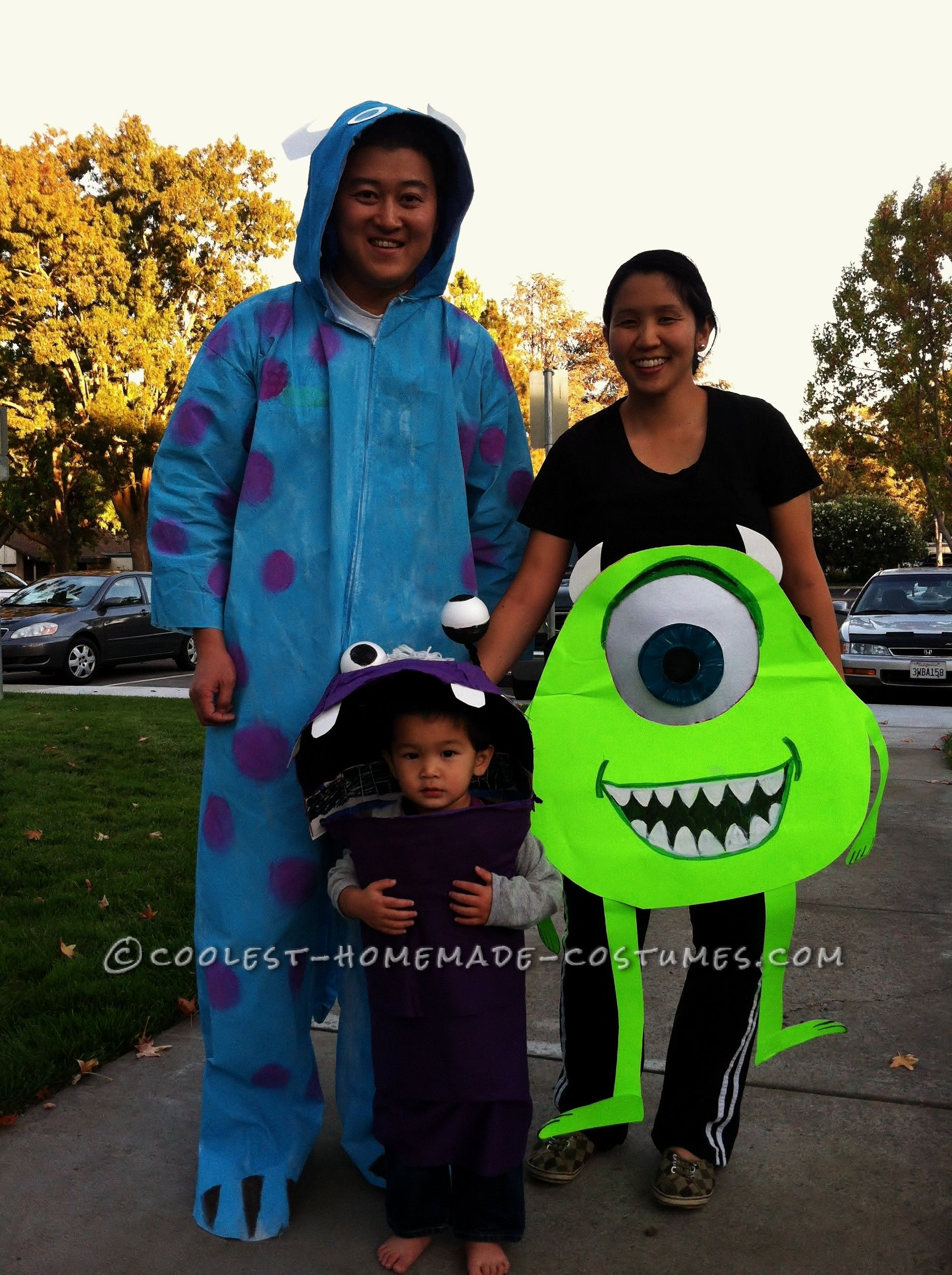 coolest monsters inc family costume boo sully mike and mikes bulging eyeball pregnant belly - Sully Halloween Costumes Monsters Inc