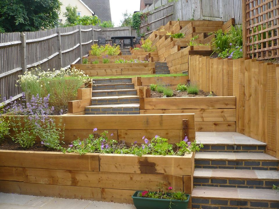 Child friendly terraced garden google search exteriors for Sloping garden design ideas