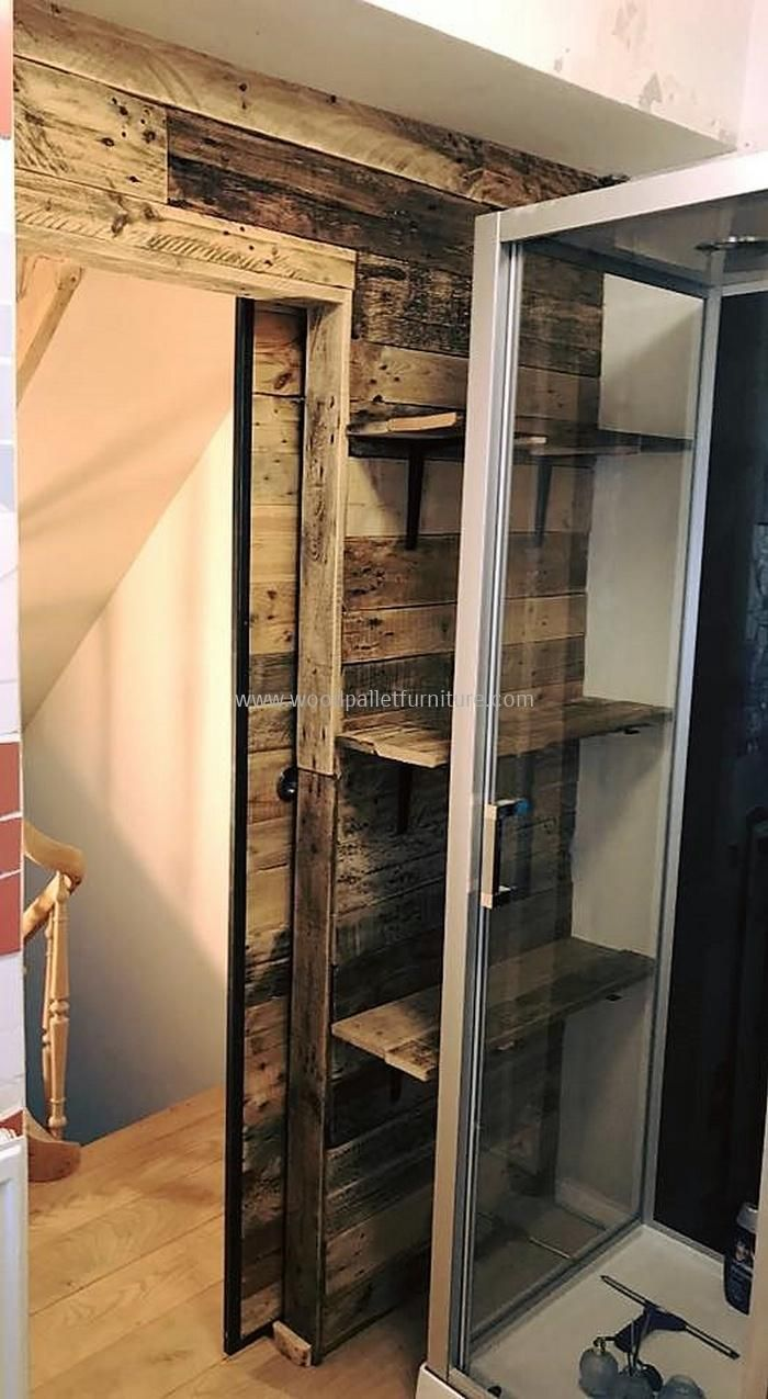 Wood pallets wall art and sliding door for bathroom wooden pallet