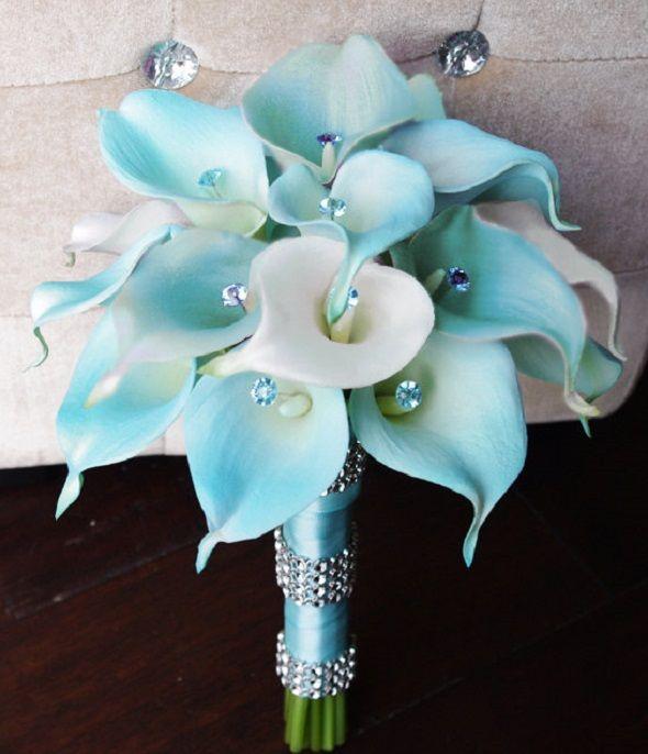 Silk Wedding Bouquets: Tiffany Silk Blue Wedding Bouquet With Calla ...
