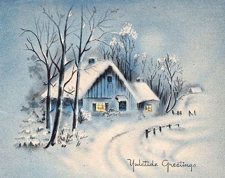 Vintage Holidays Winterbilder Wasserfarben Landschaften