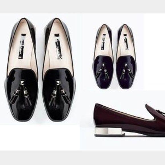 fd128de1b95 Zara Black Shiny tassel loafer with silver heel Zara Woman shiny black faux  leather slip on loafer with two silver and black tassels and silver stud