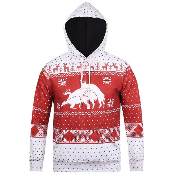 Mens Snowflake Deer 3D Printing Christmas Hoodies Casual Fashion Costume Sweatshirt