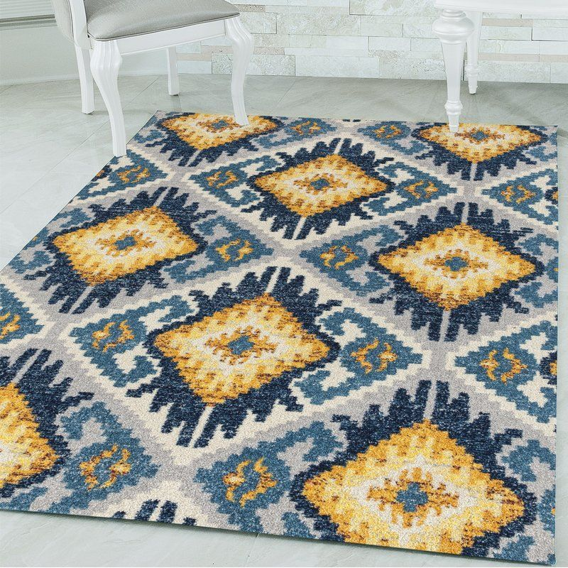 Dietz Midnight Blue Yellow Area Rug With Images Yellow Area