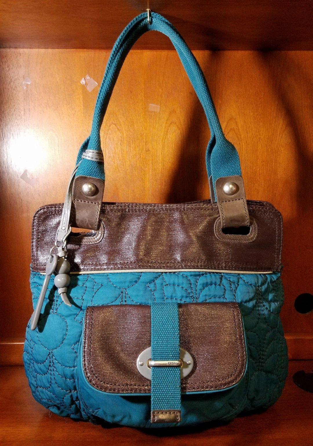 595efc9084d7 Fossil Key Per Quilted Dark Turquoise Front Pouch Leather Canvas Brown Trim  Bag