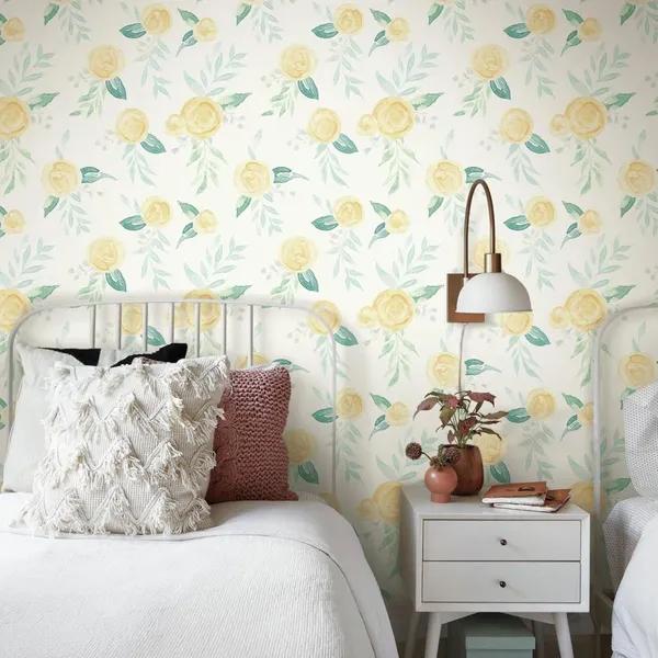 Watercolor Roses Wallpaper Yellow Joanna Gaines Stripped Wallpaper Rose Wallpaper Room Visualizer