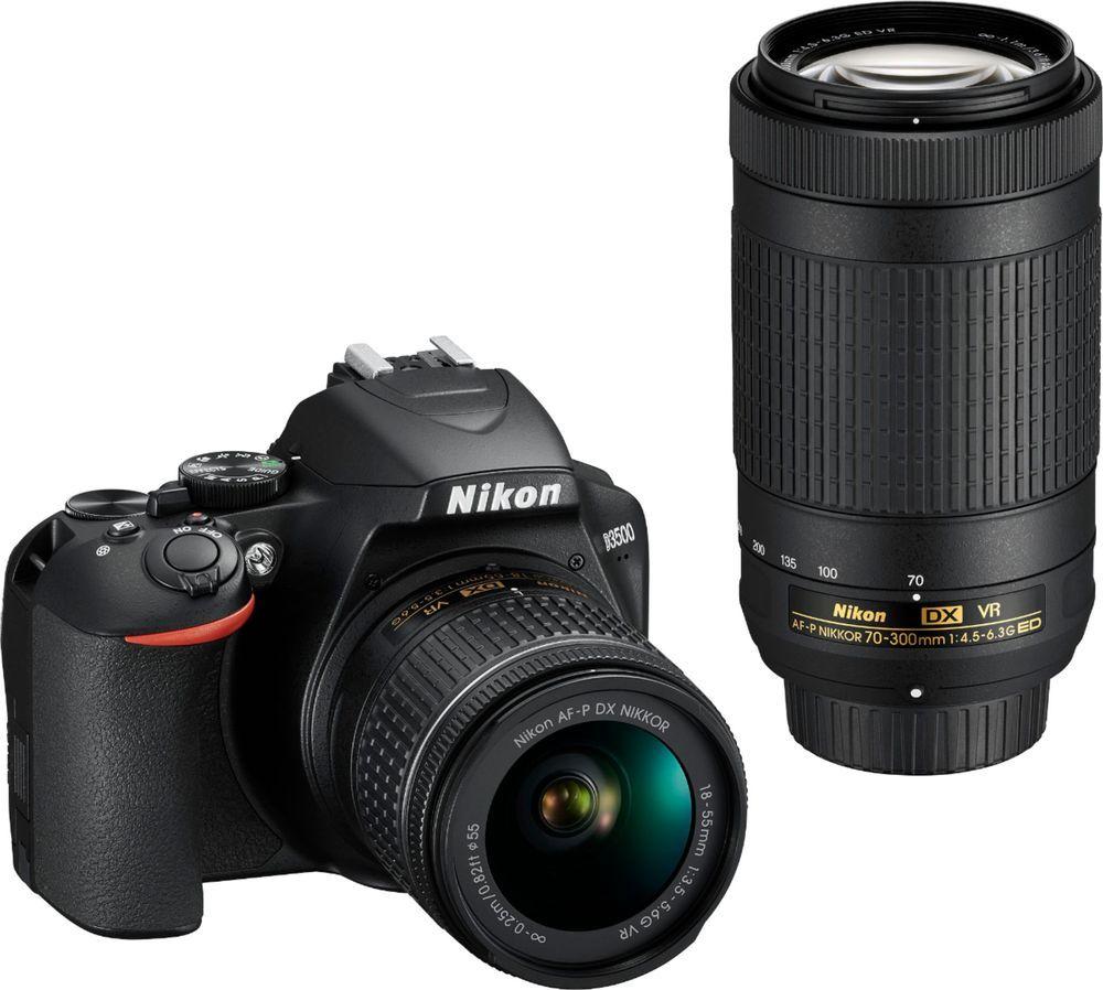 Nikon D3500 Dslr Video Two Lens Kit With Af P Dx Nikkor 18 55mm F 3 5 5 6g Vr Af P Dx Nikkor 70 300mm F 4 5 6 3g Ed Black 1588 Best Buy Dslr Bag Best Dslr Camera