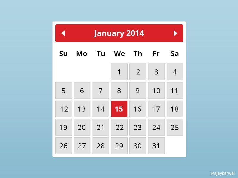 Free Calendar Widget Psd Free Calendar Template Calendar Widget