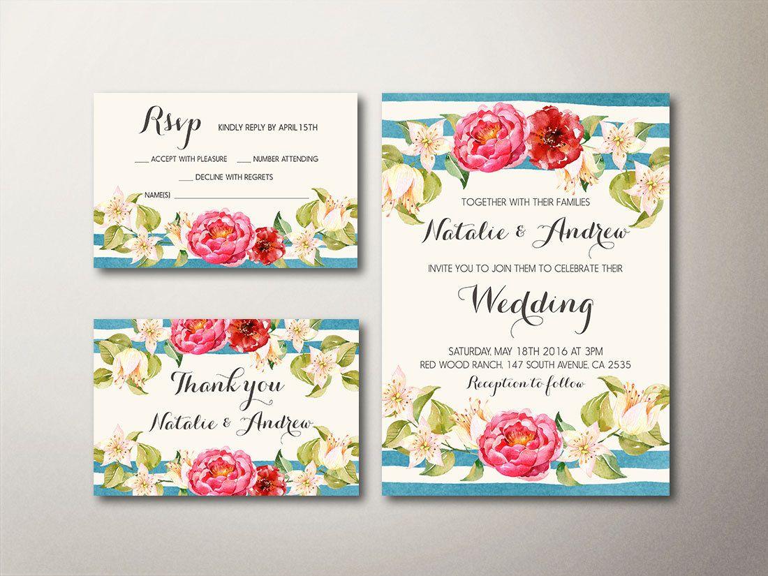Nautical Wedding Invitation, Floral Wedding Invitation, Spring Summer Boho Wedding Invitation, Printable Wedding Invitation Modern - pinned by pin4etsy.com