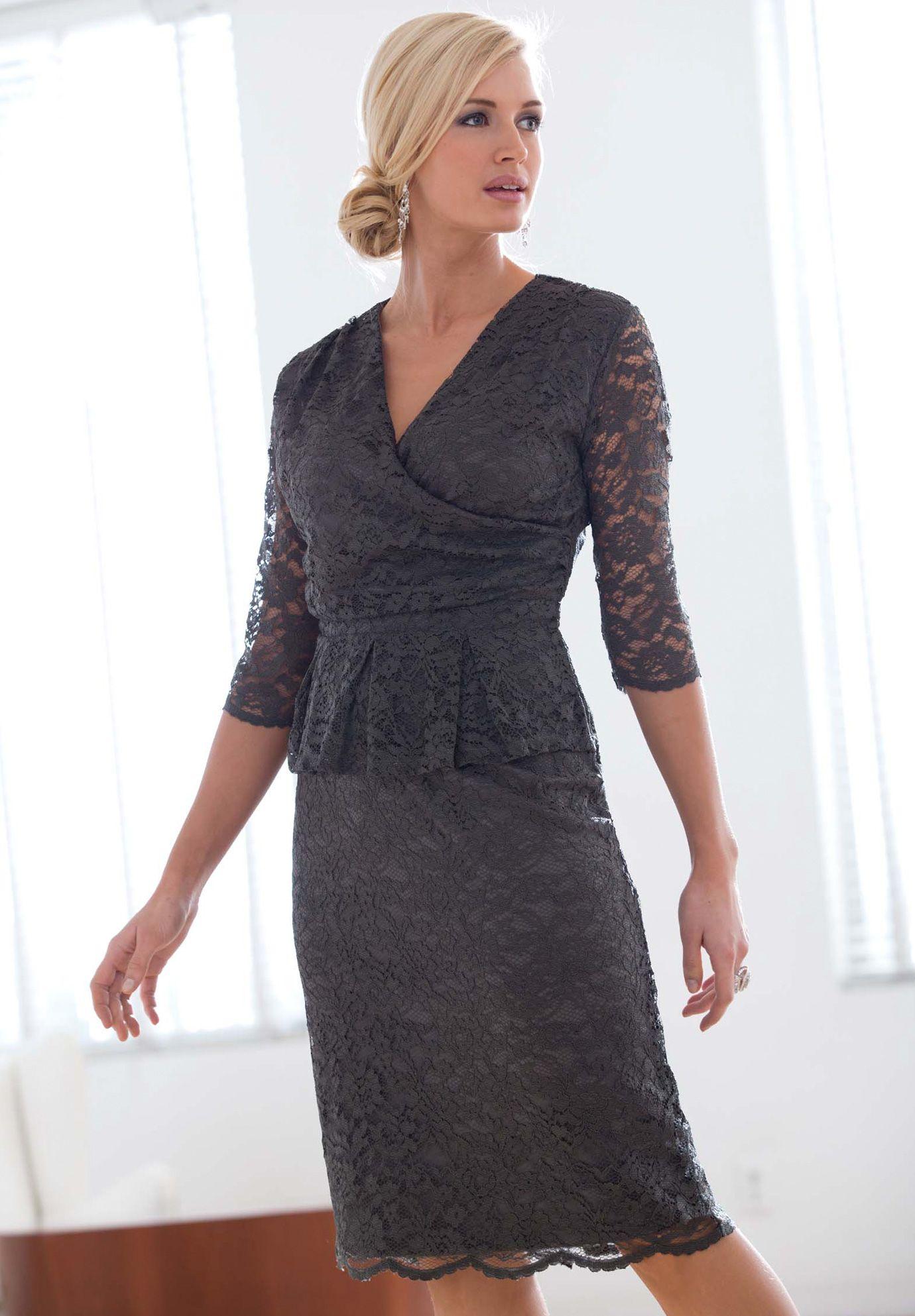 Plus Size Peplum Lace Dress