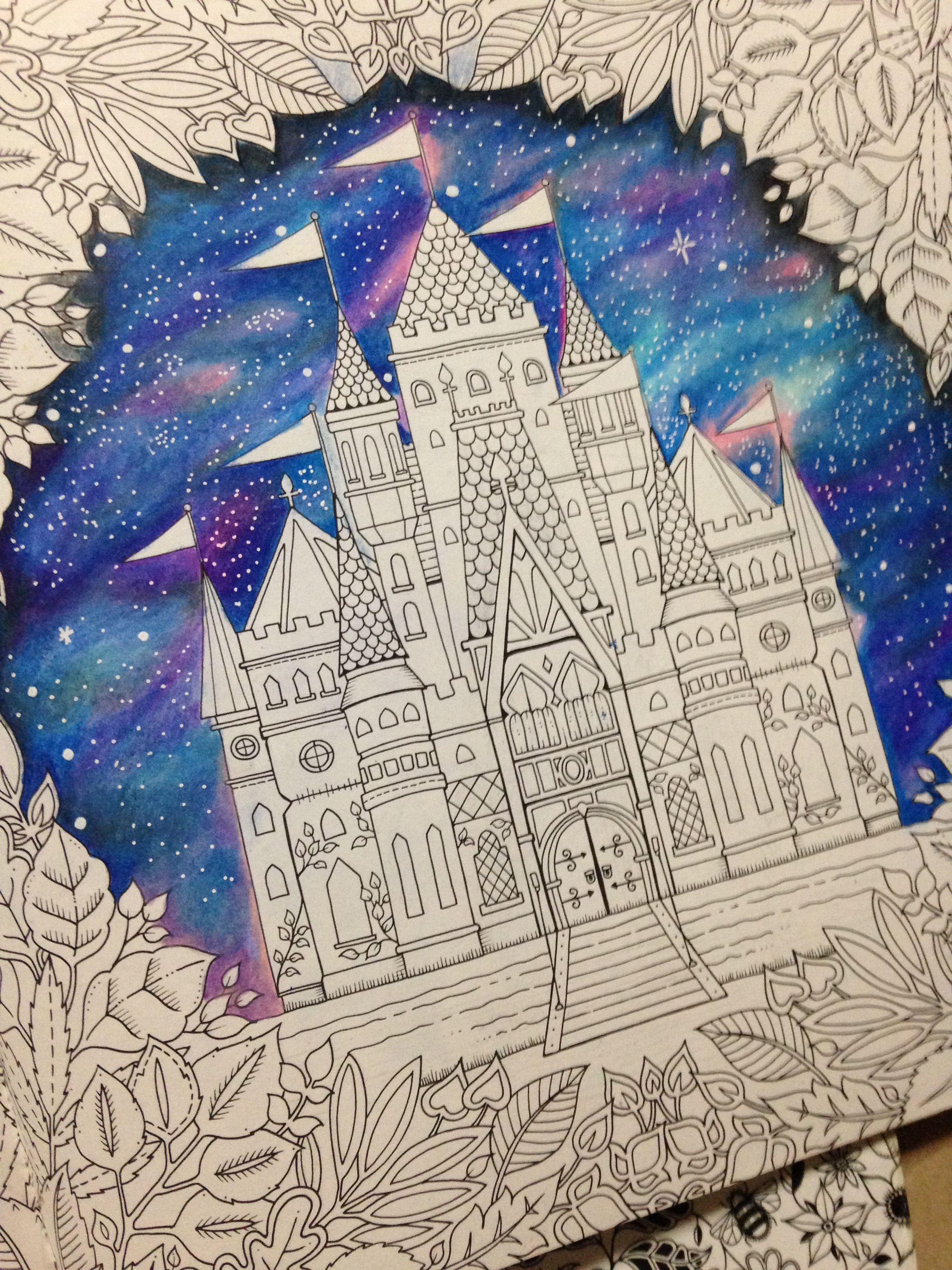 My Galaxy Background With Coloured Pencils Enchanted Forest Coloring Book Coloring Books Color Pencil Drawing